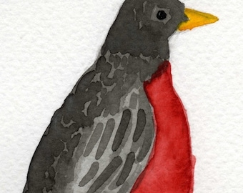 Watercolor Painting: Watercolor Illustration Bird -- Art Print --  Robin Red Breast -- 5x7