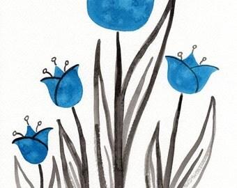 Watercolor Painting: Watercolor Flower Painting -- Art Print --  Scandinavian Flowers in Aqua -- 8x10