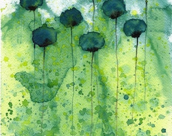 Watercolor Painting: Watercolor Flower Painting -- Art Print --  Mo Money -- Teal Flowers -- 8x10
