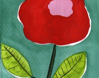 Watercolor Painting: Watercolor Flower Painting -- Mini Art Print -- -- Red and Pink Blossom  -- Aceo Print