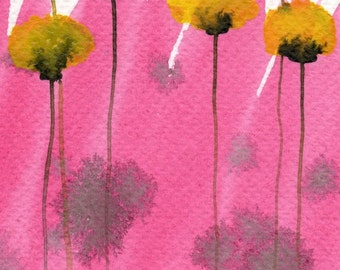Watercolor Painting: Watercolor Flower Painting -- Art Print --  Pink Lemonade -- Yellow Flowers -- 5x7
