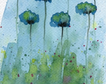 Watercolor Painting: Watercolor Flower Painting -- Art Print --  Uncertain Doubt -- Aqua Flowers -- 5x7