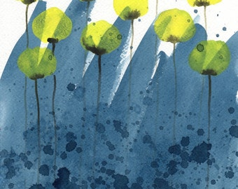 Watercolor Painting: Watercolor Flower Painting -- Art Print --  Sun Showers -- Yellow Flowers on Blue -- 8x10