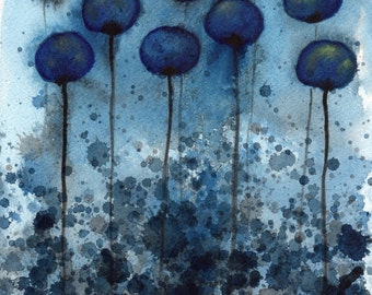 Watercolor Painting: Watercolor Flower Painting -- Art Print --  Night Garden -- Midnight Blue Flowers -- 11x14