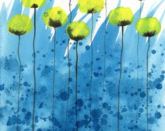 Watercolor Painting: Watercolor Flower Painting -- Art Print --  Lemony Fresh -- Yellow Flowers -- 8x10