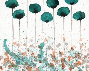 Watercolor Painting: Watercolor Flower Painting -- Art Print --  Here You Are -- Teal Flowers -- 8x10