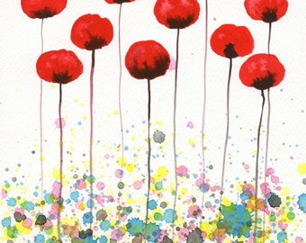 Watercolor Painting: Watercolor Flower Painting -- Art Print --  Join the Circus -- Red Flowers -- 8x10
