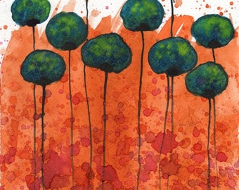 Watercolor Painting: Watercolor Flower Painting -- Art Print --  Inner Glow -- Teal Flowers -- 8x10