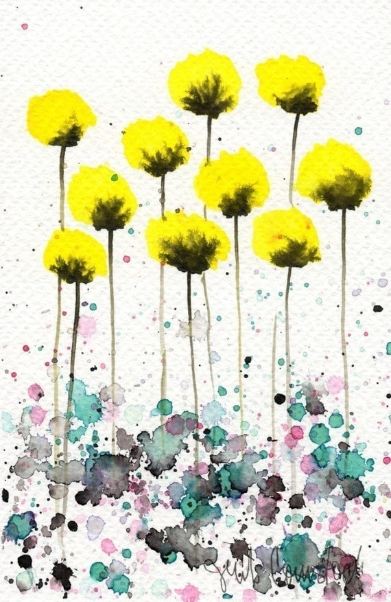 Watercolor Painting: Watercolor Flower Painting -- Art Print --  Warm Breeze -- Yellow Flowers -- 5x7