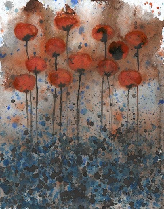 Watercolor Painting: Watercolor Flower Painting -- Art Print --  Bittersweet Me -- Orange Flowers -- 8x10