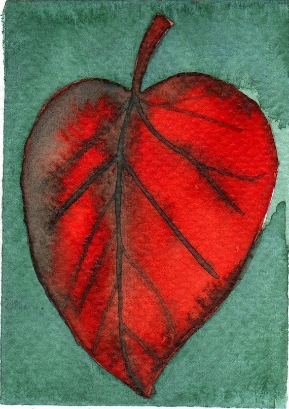 Autumn Leaf -- Watercolor Painting: Watercolor Illustration Leaf -- Mini Art Print -- ACEO Print