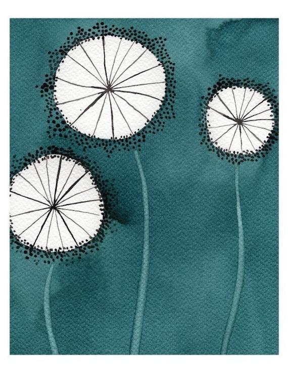 Watercolor Painting: Watercolor Flower Painting -- Art Print --  Aqua Dandelions -- 8x10