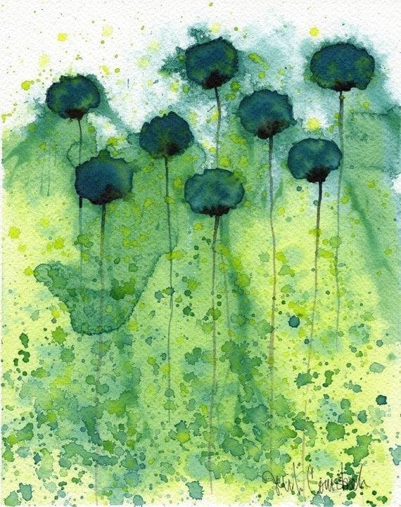 Watercolor Painting: Watercolor Flower Painting -- Art Print --  Mo Money -- Teal Flowers -- 8x10