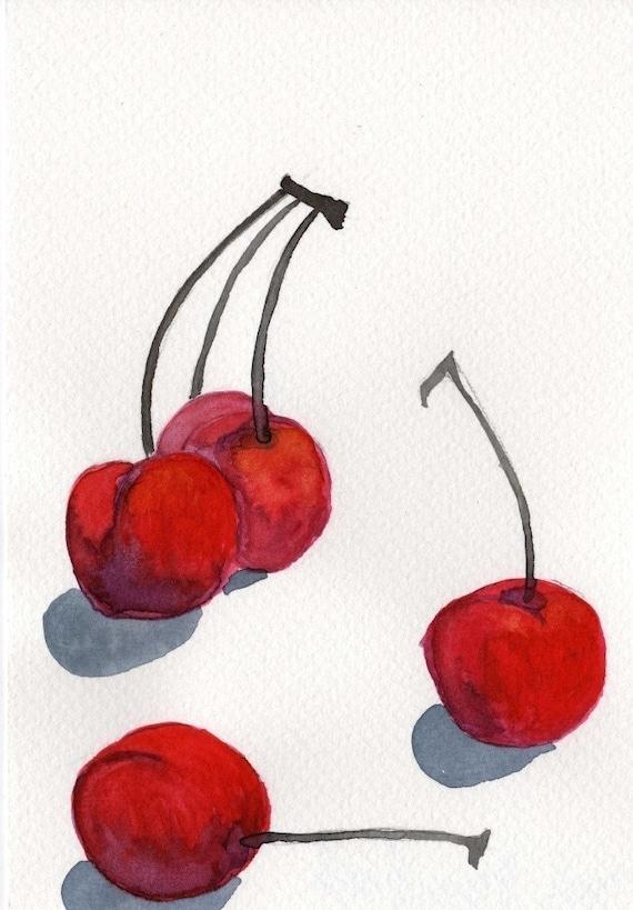 Watercolor Painting: Watercolor Illustration -- Art Print --  Cherries  -- 5x7