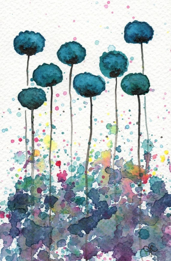 Watercolor Painting: Watercolor Flower Painting -- Art Print --  My Alter Ego -- Teal Flowers -- 5x7