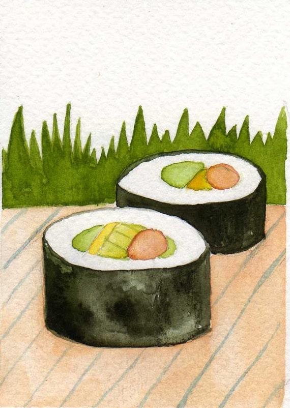 I Love SUSHI -- Original Watercolor ACEO