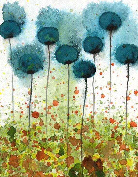 Watercolor Painting: Watercolor Flower Painting -- Art Print --  Tide Pool -- Teal Flowers -- 11x14
