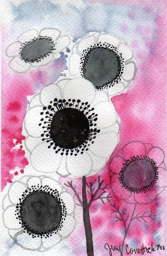 White Anemone Flowers -- Original Watercolor Painting 4x6
