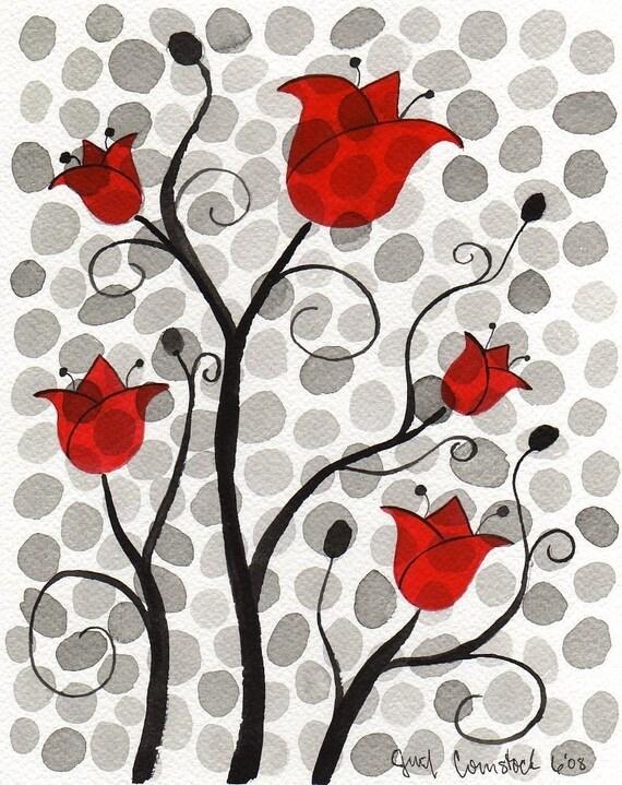Polka Dot Flowers -- Mini Print 4x6
