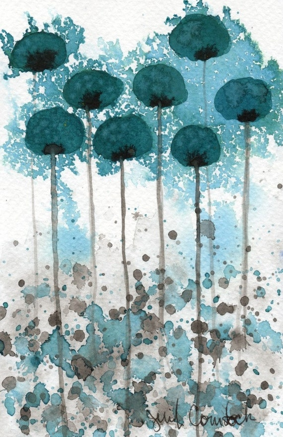 Vibration -- Teal Flowers -- Original Watercolor Painting 4x6