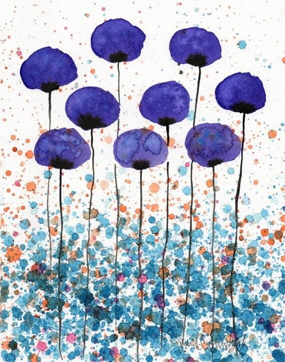 Watercolor Painting: Watercolor Flower Painting -- Art Print --  Meet Me at the Corner -- Purple Flowers -- 8x10