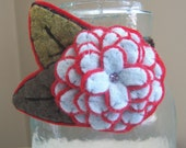 Peppermint on Red--Felt Flower Brooch