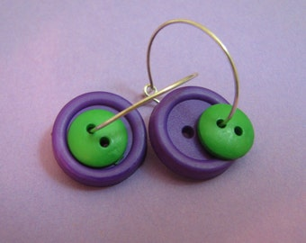 purple and green button hoops (BH8)
