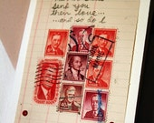 Love Note made from recycled paper and vintage stamps