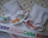 Personalized Ribbon Plus  Ruffle Socks for Girls Pageant School Toddlers Infants  FREE SHIPPING