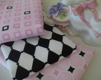 Boutique Style Shabby Chic Harlequin Geometric Baby Girl  Burp Cloths - Set of 3