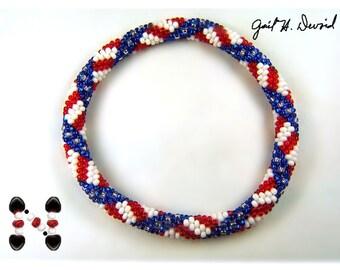 Patriotic  bead crochet bracelet