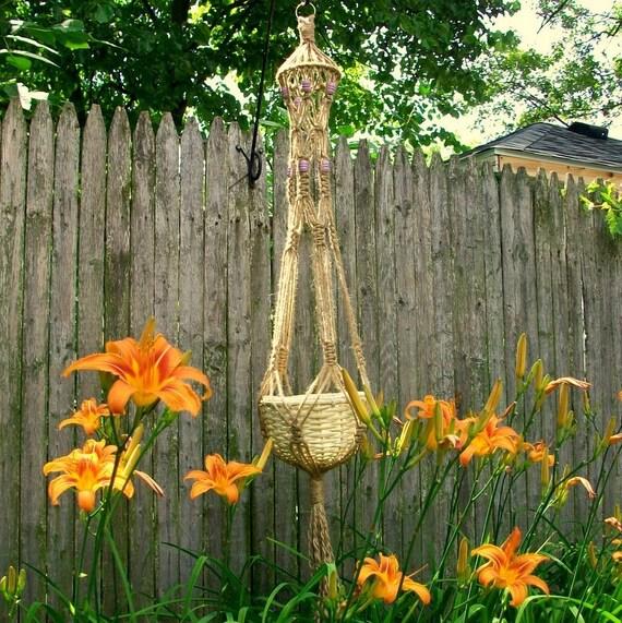 macrame plant hanger Lucy lavender barrel