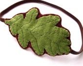 Sale: Spring Green Oak Leaf, woodland felt headband
