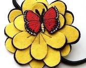 SALE: Butterfly Flower headband, red and yellow felt flower headband