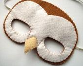 SALE Felt Barn Owl Mask for Halloween, white, light brown, woodland
