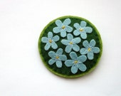 SALE Forget Me Nots, felt flower brooch, spring, sky blue, green