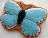 Adonis Blue, felt British butterfly brooch
