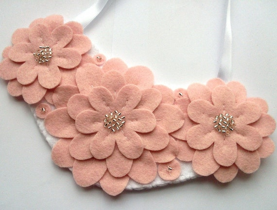 SALE Felt Flower Necklace, pale pastel pink white spring