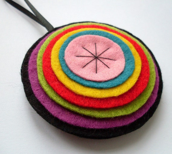 Rainbow Bauble no.2, Felt Christmas Ornament