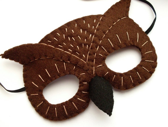SALE Felt Owl Mask for Halloween, woodland, forest, brown