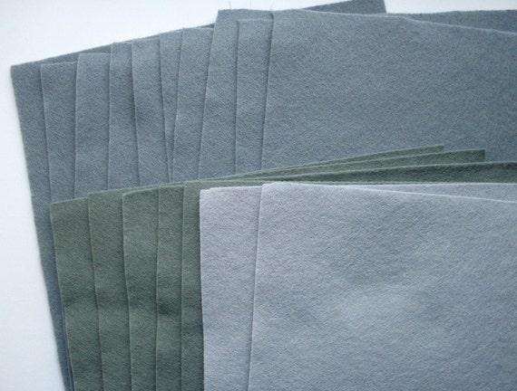 17 bargain wool blend felt squares - shades of grey