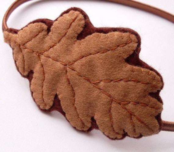 SALE Felt Oak Leaf headband, woodland inspired for autumn / fall