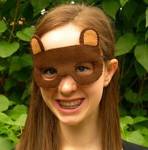 SALE Bear, felt woodland animal mask for Halloween