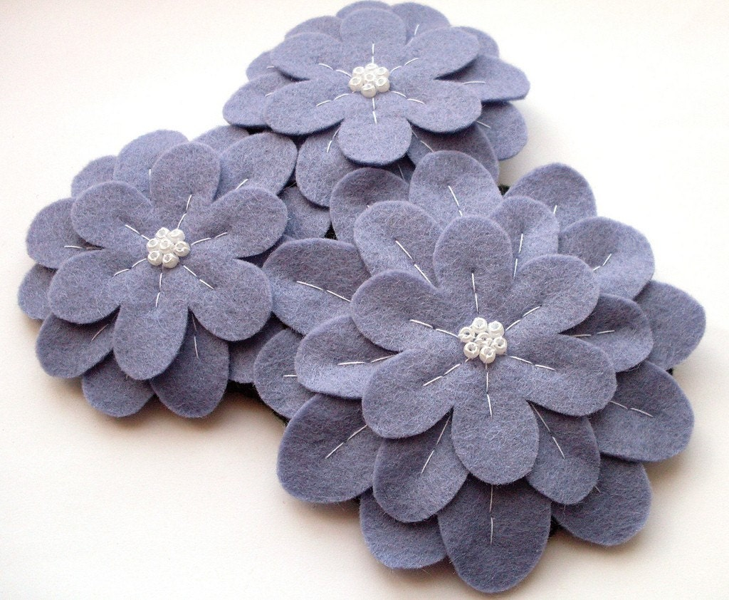 SALE Lilac Trio large felt flower brooch