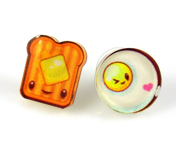 Toast and Egg Post Earrings