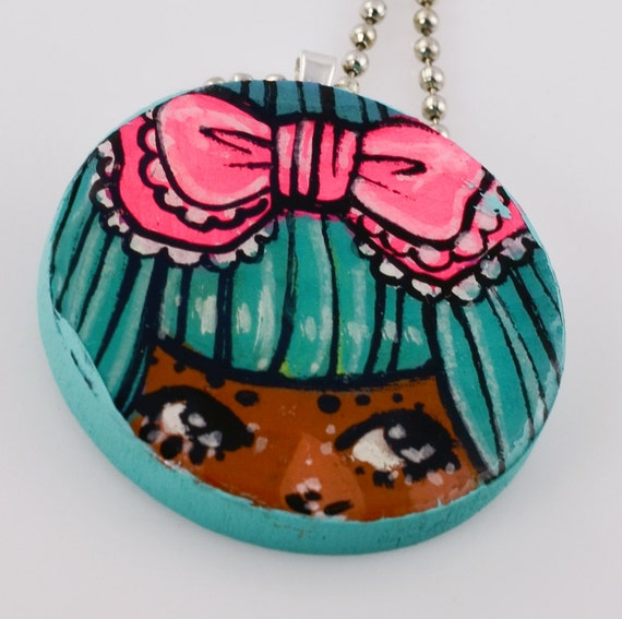 Pink Bow Teal Hair Wood Charm Painting Necklace 24 inches