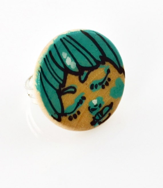 Little Teal Sleeping Face Wood Charm Painting Ring