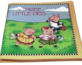 Fabric Childrens Book Three Little Pigs Reserved for Imsleepy