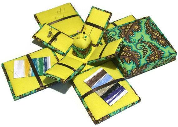Etui Box Needlework Sewing Kit Paisley