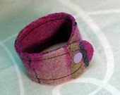SALE Striped Felt Cuff . Plum Dream